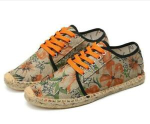 Mens Fashion Floral Canvas Stitching Lace Up Espadrille Loafers Casual Shoes New