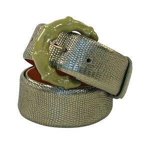 Ralph Lauren Purple Label Green Metallic Mother of Pearl Lizard Belt New $1250