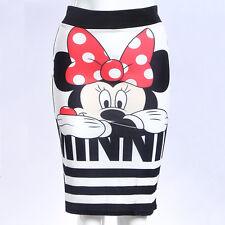 Women Minnie Mouse Stripe Zipper Pencil Skirt Sexy Slim Bodycon Party Mini Dress