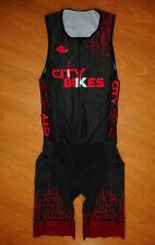 Veneto Men's Black Red Thin Padded Sleeveless Triathlon Speed Skinsuit Size S
