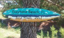 """Tiki Surfboard Sign Hand Made IN USA  """"Daytona Beach Bike Week 2017"""""""