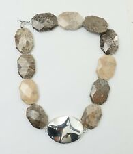 Simon Sebbag Sterling Silver 4 String Fossil Coral Sand Leather Necklace Nb456