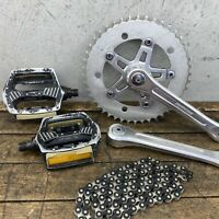Old School BMX Super Maxy Bike Crank Set Izumi Chain Pedals Mongoose GT Hutch