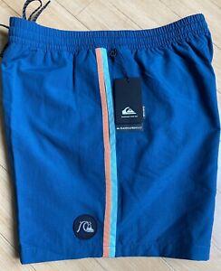 """Men's Quicksilver Beach Please 16"""" Swim Shorts Size XL 36 Majolica Blue Board"""