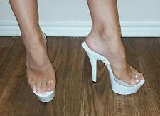 """ELLIE 601-VANITY Sexy 6"""" Mule Slide on Platform High Heels - SIZE 6"""