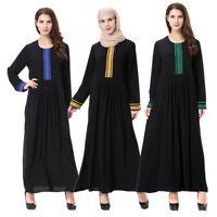 Muslim Women Long Maxi Dress Islamic Robe Abaya Dubai Kaftan Jilbab Cocktail New