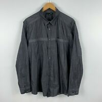 Saba Mens Button Up Shirt Size XL Grey Striped Long Sleeve Collared