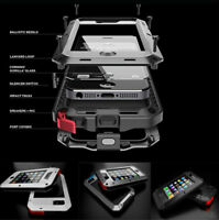 For iPhone 4s 5 Rugged Aluminum Metal Hybrid Glass Shockproof Case Cover