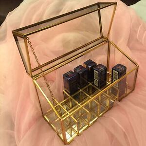 "9""*5.5""*3.7"" Tempered Glass Cosmetic Skincare Makeup Organiser Storage AU"