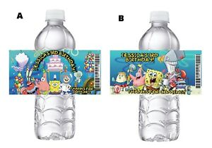 20 SPONGEBOB PERSONALIZED BIRTHDAY PARTY FAVORS WATER BOTTLE LABELS SUPPLIES
