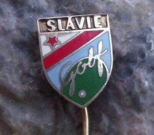 Antique Slavia Slavie Prague Czech Golf Club Ball Green Logo Members Pin Badge
