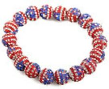 Belle brillant USA Drapeau extensible Shamballa Bracelet - 20x10mm Perles-Cristal-UK