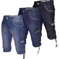 Mens Crosshatch Designer Long Denim Summer Shorts Combat Cargo Style Pockets