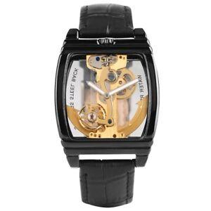 New SHENHUA Men's Skeleton Automatic Mechanical Watch Leather Strap Bracelet