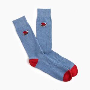 NEW J. Crew Men's Santa Bear Print Padded Footbed Socks in Blue K7036
