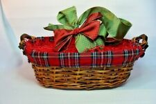 Gift Basket Supplies Wicker & Plaid Oval Wood Handles 6x9xx17.5 Ready To Fill !