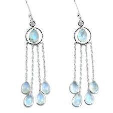925 Sterling Silver 9.74cts Natural Rainbow Moonstone Dangle Earrings P60611