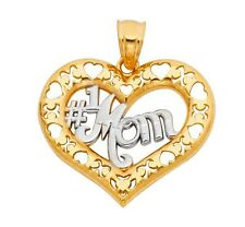 """14k Solid Yellow Gold """"#1 Mom"""" Mom Pendant Heart Love Mother's Day Gift two tone"""