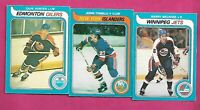 1979-80 OPC JETS MELROSE RC + ISLANDERS TONELLI RC + HUNTER RC CARD (INV# C8007)