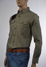 Ralph Lauren Olive Green Oxford Shirt/Leather Shoulder Patch-Small-NWT