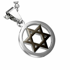 Stainless Steel Black Silver-Tone Jewish Star of David Charm Pendant Necklace