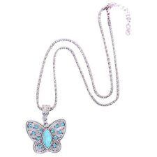 New Women Butterfly Pendant Turquoise Silvery Plated Necklace Neck Chain Jewelry