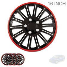 NEW 16 INCH BLACK W RED TRIM WHEEL RIM HUBCAP COVERS LUG SKIN SET FOR MAZDA 527