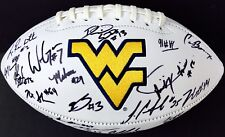 2018 WEST VIRGINIA MOUNTAINEERS TEAM SIGNED LOGO FOOTBALL w/COA WILL GRIER