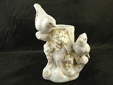 Vintage Tree Trunk Vase with Birds - White with Gold Trim - Made in Japan
