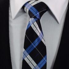 Mens Chequered Tie Blue Navy Silver Stripe Check