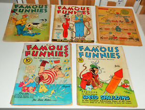 5x FAMOUS FUNNIES no.61 65 71 71 110 lot 1939 rare early Golden-age BUCK ROGERS