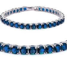 Brilliant Round Simulated Blue Sapphire Diamond Sterling Silver Tennis Bracelet
