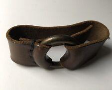 Leather Bracelet Handmade Mens Cowhide Ny Designer Brown Buckle Signed