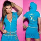 Sexy WOMENS SHORT SLEEVE TRACK JACKET 6 8 10 12 CASUAL HOODIE CROP TOP T SHIRT