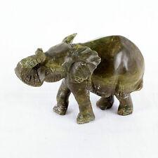 Handgeschnitzt Afrikanisch Elefant Stein Skulptur, Braun / Grün Stein, 14cm Lang