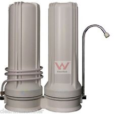 Twin Countertop Water Filter System with water quality approved cartridges