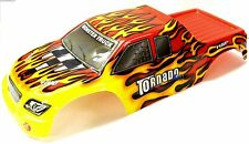 08302 1/8 Scale RC Nitro Monster Truck Body Shell Cover Red Flame Cut