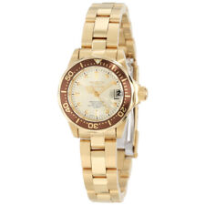 Invicta Women's Watch Pro Diver Champagne Dial Yellow Gold Bracelet 12527
