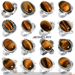 Natural Tiger Eye Gemstone 10 pcs Wholesale Lot 925 Sterling Silver Plated Rings