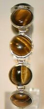 Stunning Ladies TIGERS EYE Cabochon Linked Sterling Silver Bracelet - BOHO Hippy