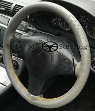 GREY PERFORATED LEATHER STEERING WHEEL COVER FOR PEUGEOT 206 YELLOW DOUBLE STCH
