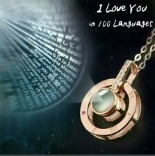 I Love You 100 Languages Projection Light Pendant Necklace Lovers Jewellery Gift