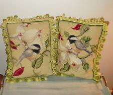 "Large Pair (2) 20"" x 16"" Handmade Wool Needlepoint Magnolia Bird Pillow Tassels"