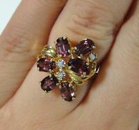 Beautiful 14k Yellow Gold Faceted Tourmaline & Diamonds Cluster Ring, NR