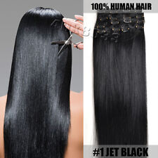 14''/36cm Real Human Hair Extensions 7Pcs Full Head #1 Jet Black Clip in Remy