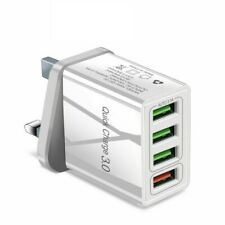 Fast Quick Charge QC 3.0 USB Hub Wall Charger Adapter UK Plug 4 Multi-Port New