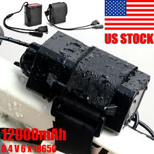 12000mAh 8.4V 6X18650 Battery Pack USB Rechargeable For CREE LED Bicycle Light