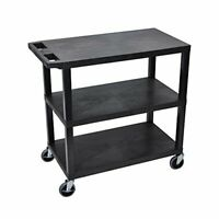 Luxor Black 18x32 Cart 3 Flat Shelves