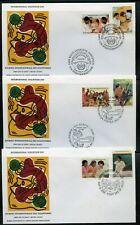 Keith Haring Cacheted Wfuna 1988 Volunteer Día Conjunto De 3 Primer Día