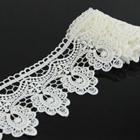 Floral Polyester Lace Applique Sewing Trim DIY Crafts Trimming 2 Yards Off White